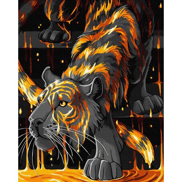 Картина по номерам Животные, птицы и рыбы - Тигр в огне