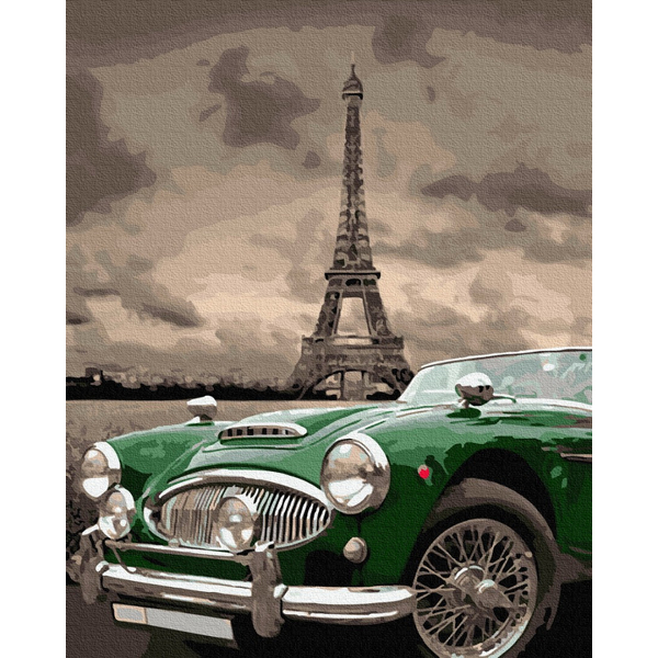 Картина по номерам Города - Зеленый ретро на улицах Парижа