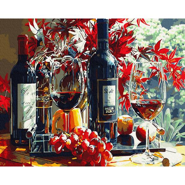 Картина по номерам Цветы - Багровое вино