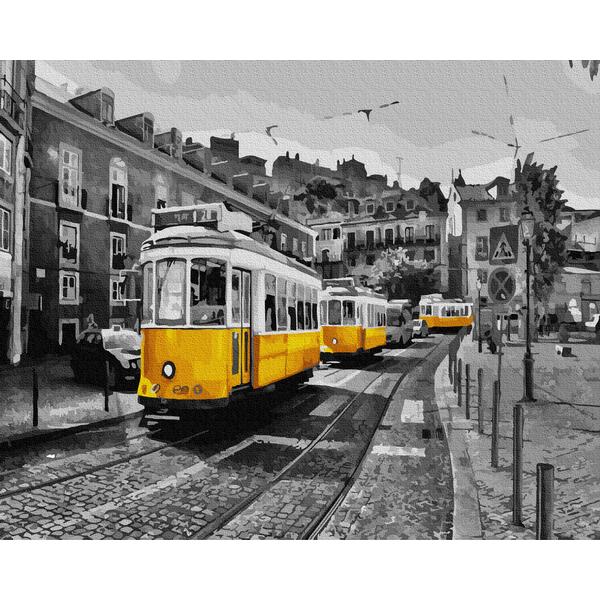 Картина по номерам Города - Жовтий трамвай на старовинних вулицях