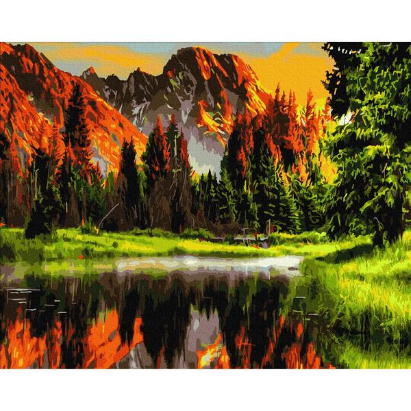 Картина по номерам ПРЕМИУМ картины - Закат в горной долине