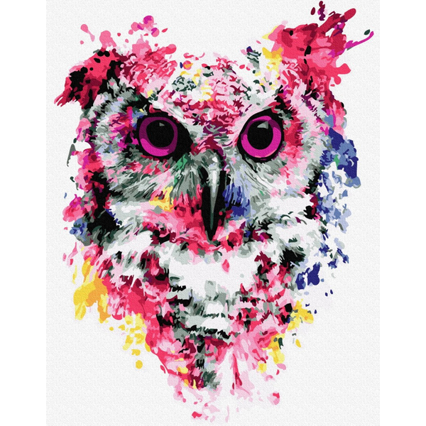 Картина по номерам ПРЕМИУМ картины - Сова в красках