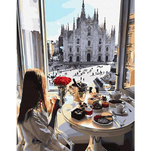 Картина по номерам ПРЕМИУМ картины - Сніданок в Мілані