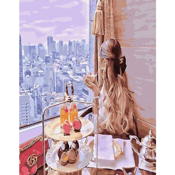Картина по номерам ПРЕМИУМ картины - Завтрак с видом мечты