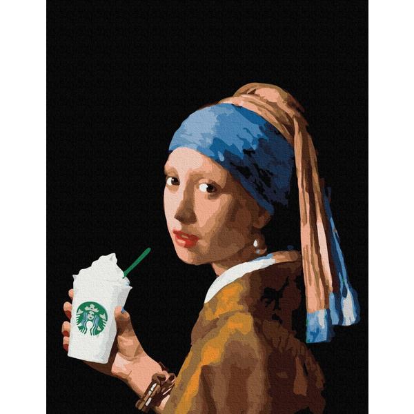 Картина по номерам ПРЕМИУМ картины - Девушка с двойным латте