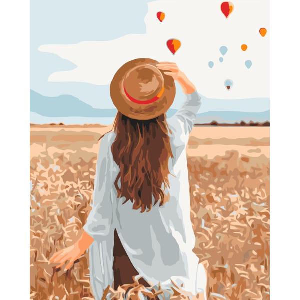 Картина по номерам Уникальные сюжеты - Путешественница в ржаном поле