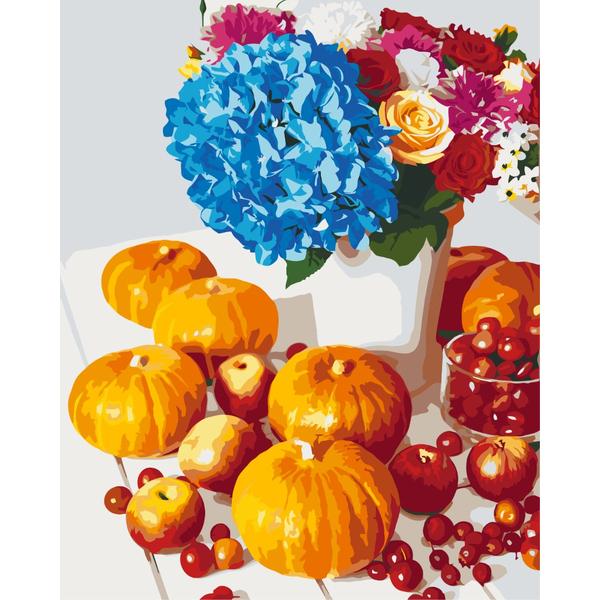 Картина по номерам Цветы - Тыквенный натюрморт