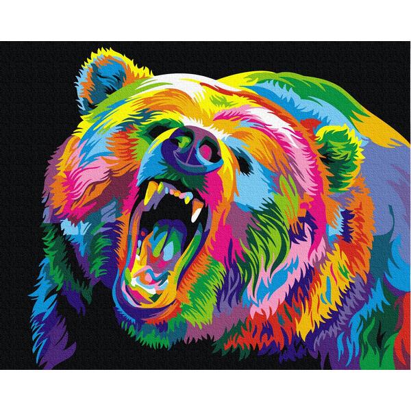 Картина по номерам Для начинающих - Радужный медведь гризли