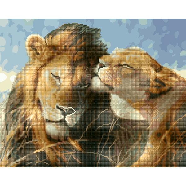 Алмазные картины-раскраски - Львиная любовь