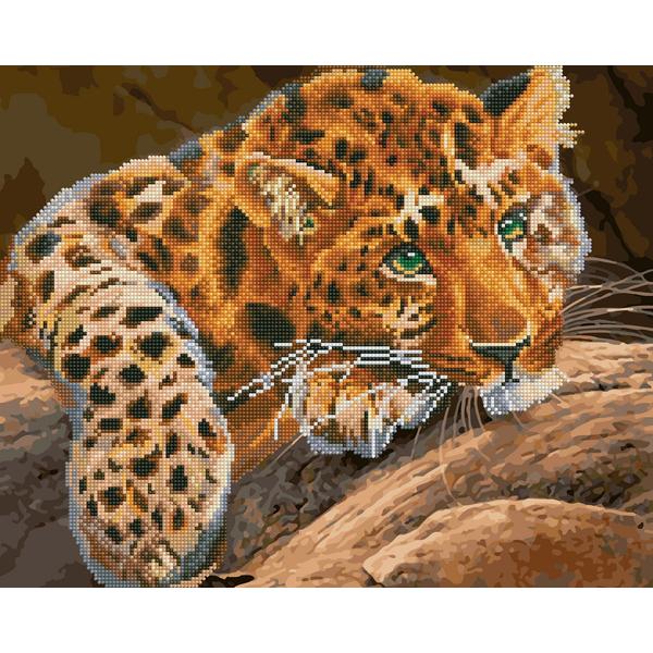 Алмазные картины-раскраски - Зеленоокий леопард