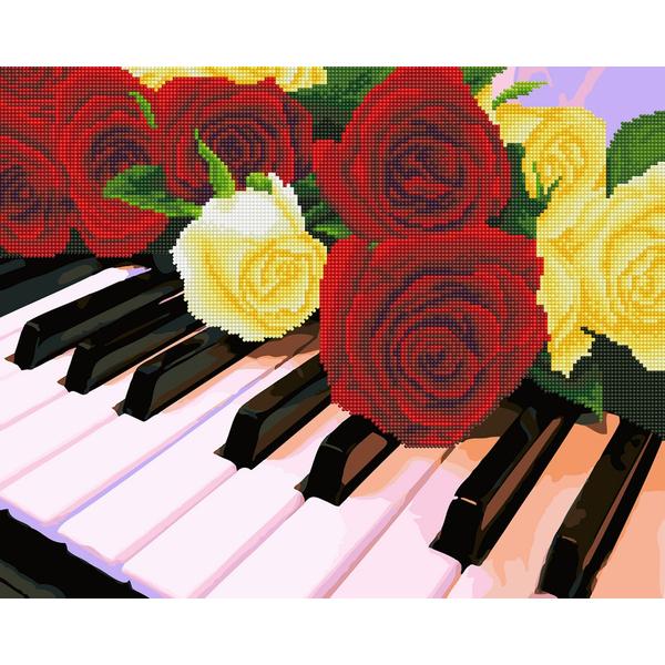 Алмазные картины-раскраски - Розы на рояле