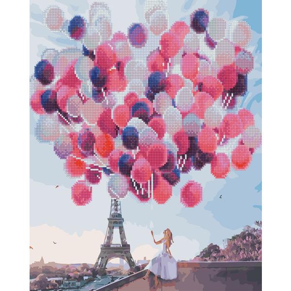 Алмазные картины-раскраски - Париж в воздушных шариках