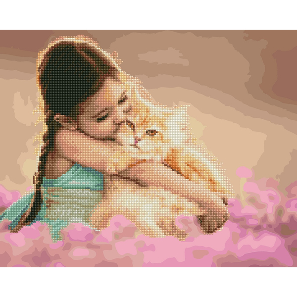 Алмазные картины-раскраски - Кошачья нежность