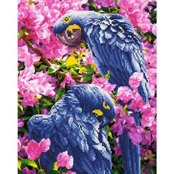 Алмазные картины-раскраски - Яркие попугаи