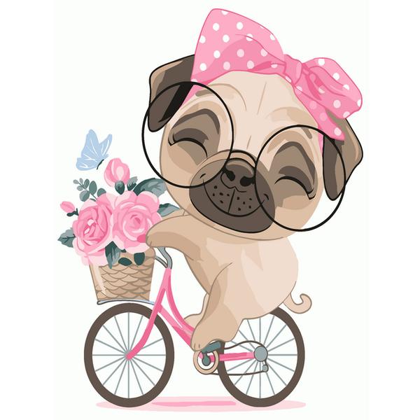 Картина по номерам KIDS - Мопс на велопрогулке