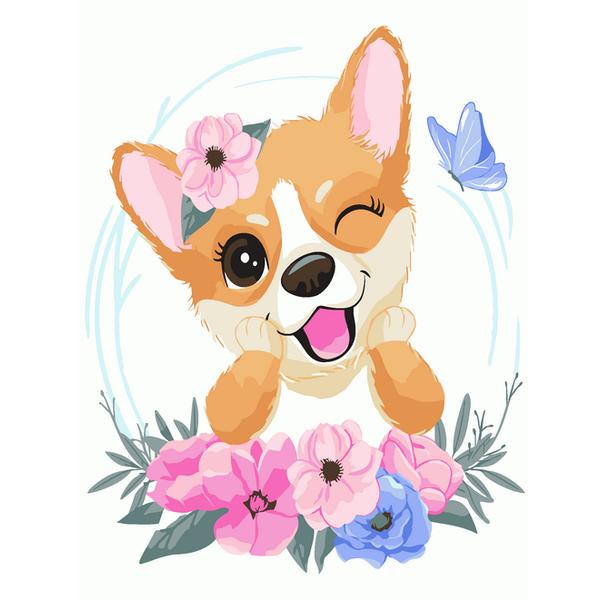 Картина по номерам KIDS - Корги в цветочках