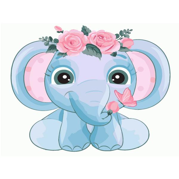 Картина по номерам KIDS - Слоник у віночку