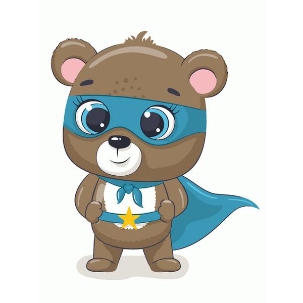 Картина по номерам KIDS - Ведмедик супергерой