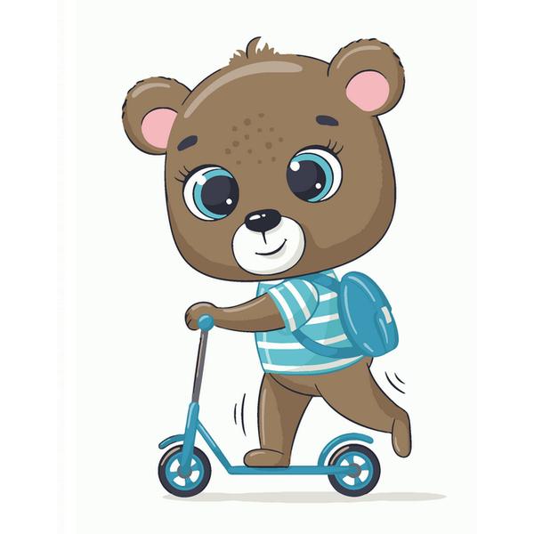 Картина по номерам KIDS - Ведмедик школярик