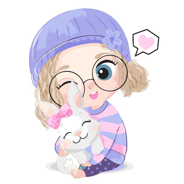 Картина по номерам KIDS - Дівчинка з кроликом