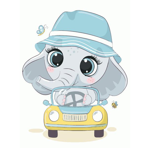 Картина по номерам KIDS - Слоненок в панамке