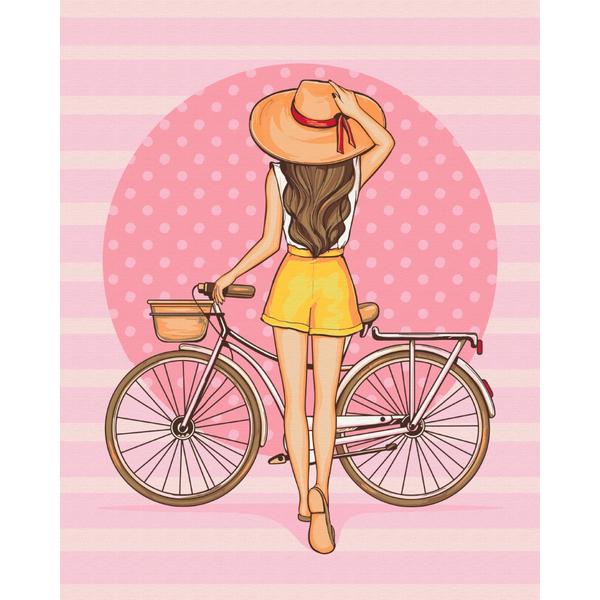 Картина по номерам Для начинающих - Девушка с велосипедом