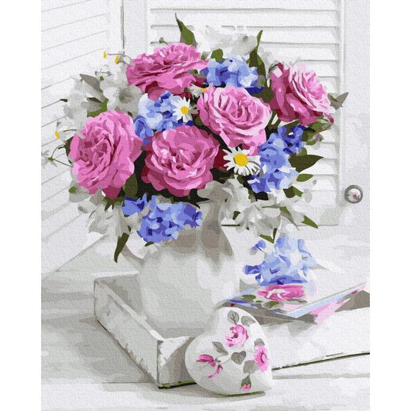 Картина по номерам Цветы - Букет з рожевими трояндами