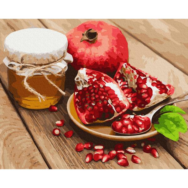 Картина по номерам Натюрморты - Красный гранат с медом