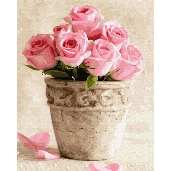 Картина по номерам Цветы - Рожеві троянди в горщечку