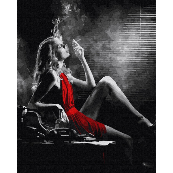 Картина по номерам Люди на картинах - Жінка  в червоному