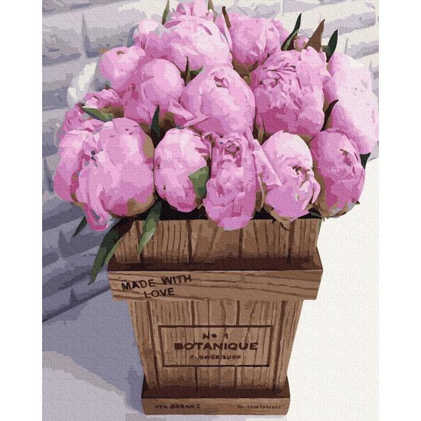 Картина по номерам Цветы - Букетик рожевих піонів