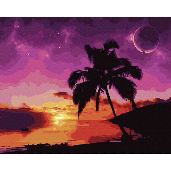 Картина по номерам Пейзажи - Захід сонця в лагуні