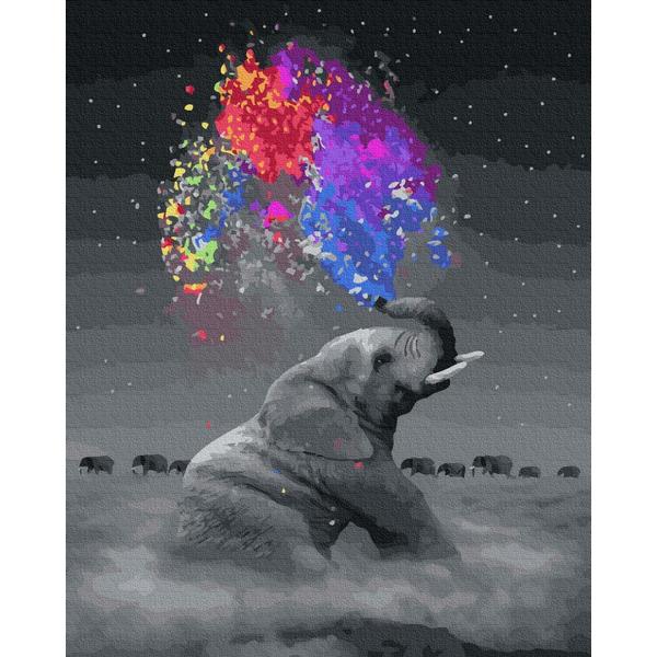 Картина по номерам Животные, птицы и рыбы - Слон с яркими красками