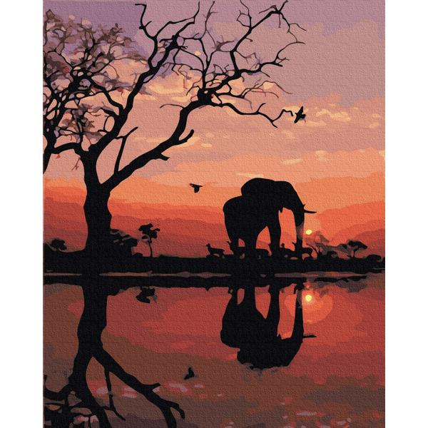 Картина по номерам Для начинающих - Постать слона на заході