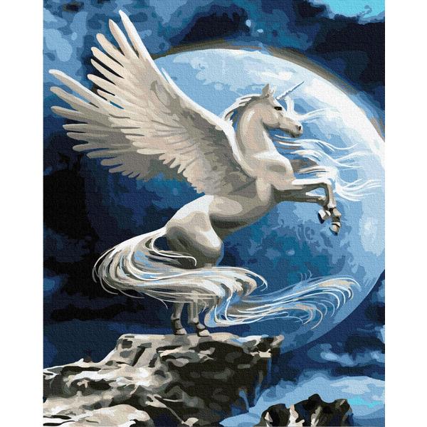 Картина по номерам Животные, птицы и рыбы - Пегас в повний місяць