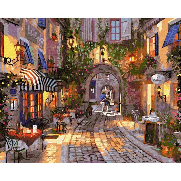 Картина по номерам Города - Вечерняя улица старого города
