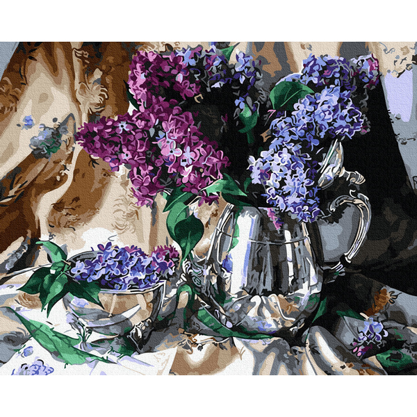 Картина по номерам Цветы - Бузок в срібній вазі