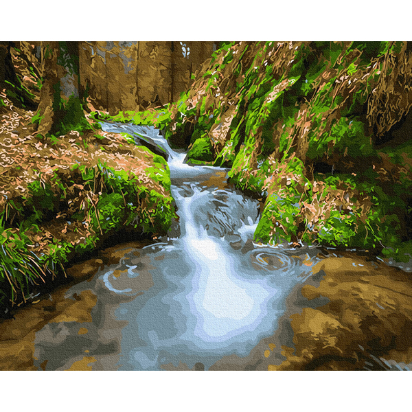 Картина по номерам Природа - Водоспад серед гір