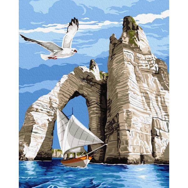 Картина по номерам Пейзажи - Яхта у скал