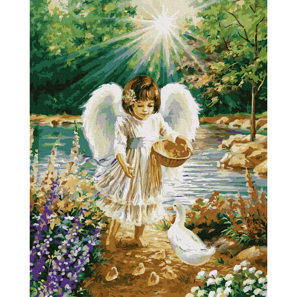 Картина по номерам Дети и ангелочки - Ангел з каченятками