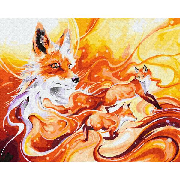 Картина по номерам Абстракции - Золотые лисички