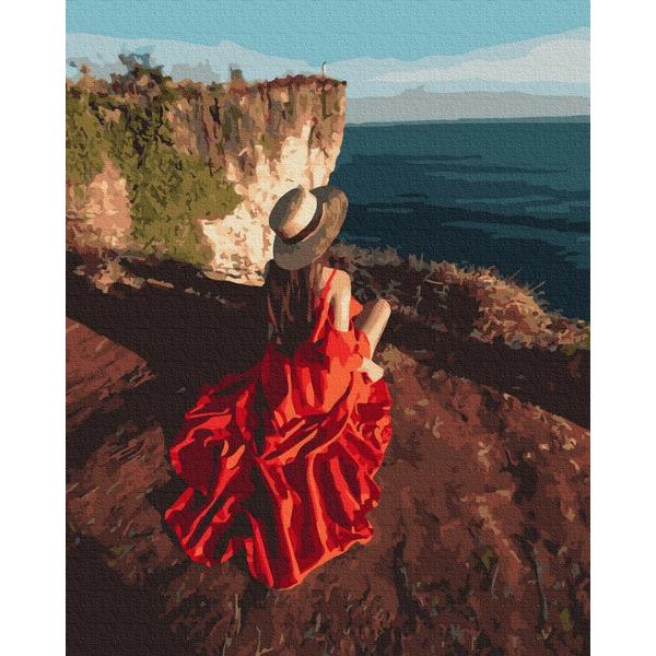 Картина по номерам Люди на картинах - Путешественница на скалах
