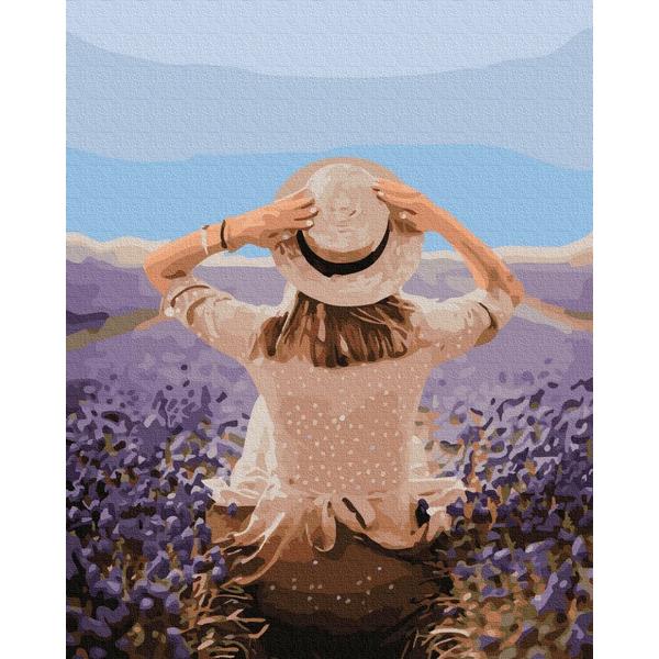 Картина по номерам Уникальные сюжеты - Путешественница в лавандовом поле