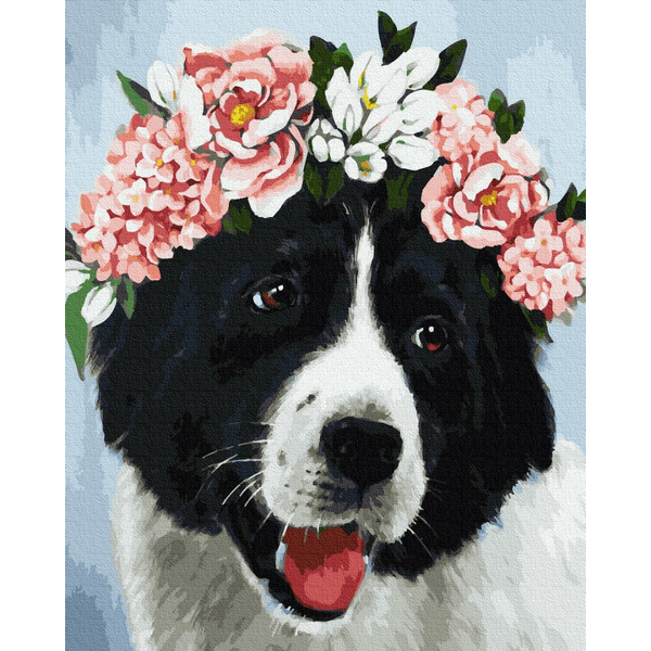 Картина по номерам Животные, птицы и рыбы - Собачка в квітах