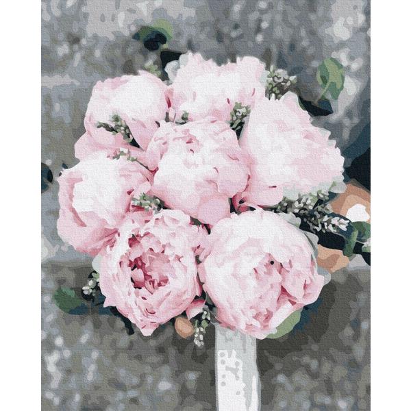 Картина по номерам Цветы - Піони для нареченої