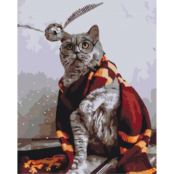 Картина по номерам Уникальные сюжеты - Котик ловець снітчу