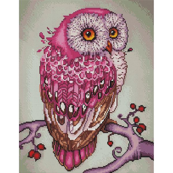 Алмазная мозаика 40х50 - Рожева сова