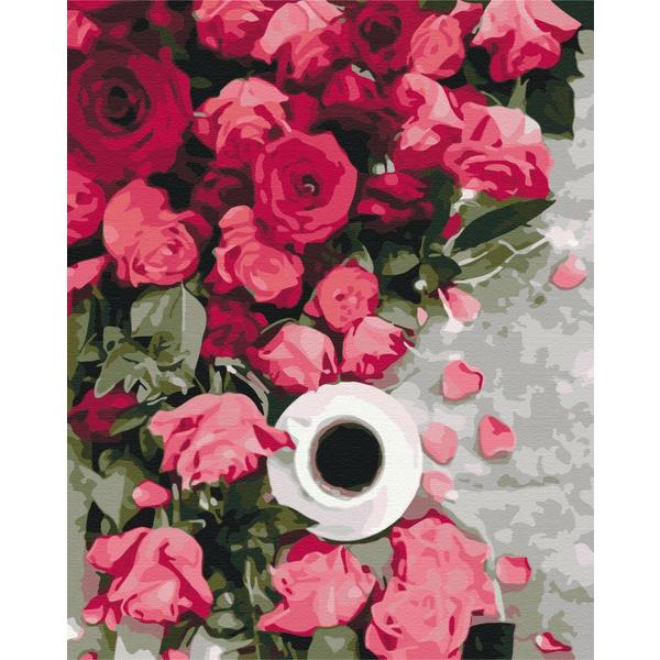 Картина по номерам Уникальные сюжеты - Рожеві троянди