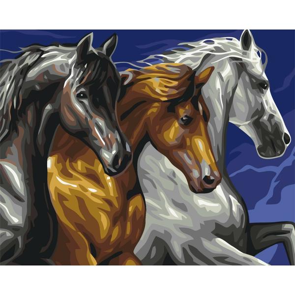 Картина по номерам Животные, птицы и рыбы - Тріо коней