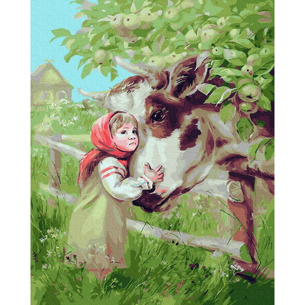 Картина по номерам Дети и ангелочки - Маша и коровка